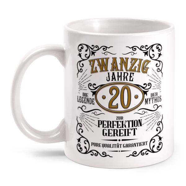 Zwanzig Jahre zur Perfektion gereift - 20. Geburtstag Whiskey Label - Tasse