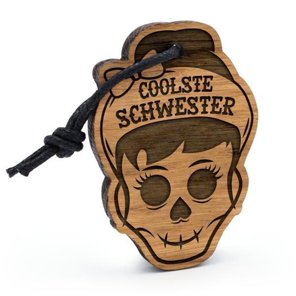 Coolste Schwester - Schlüsselanhänger Totenkopf