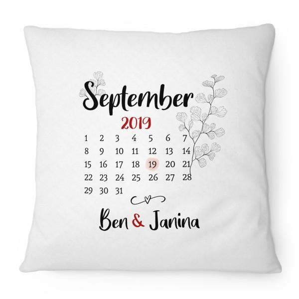 Kalender für Pärchen - personalisiertes Kissen