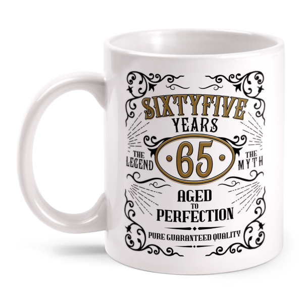Sixtyfive Years Aged To Perfection - 65 Jahre Whiskey Label - Tasse