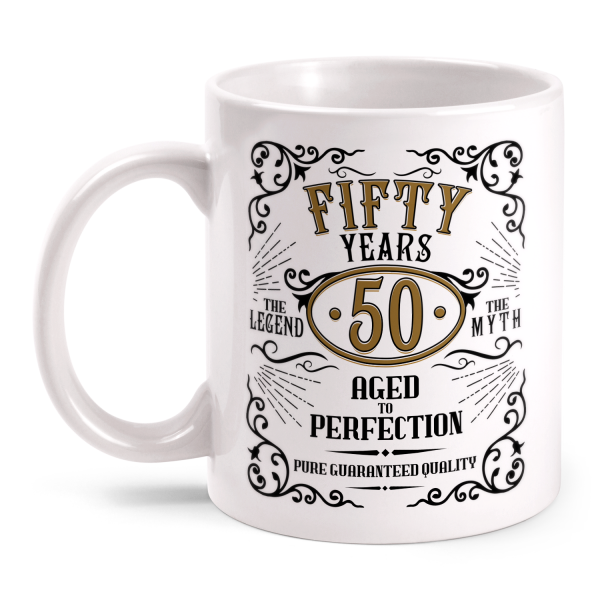 Fifty Years Aged To Perfection - 50 Jahre Whiskey Label - Tasse