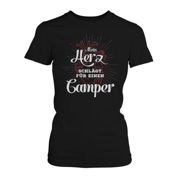 Mein Herz schlägt für einen Camper - Damen T-Shirt