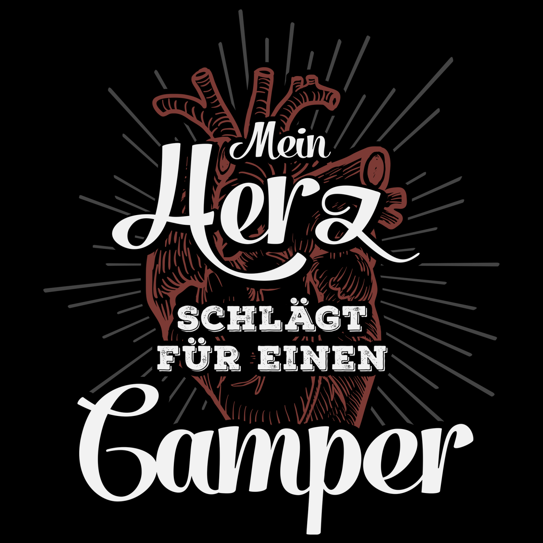 Mein Herz Camper Damen T-Shirt Spruch Geschenk Idee Freundin Paar Camping Campen