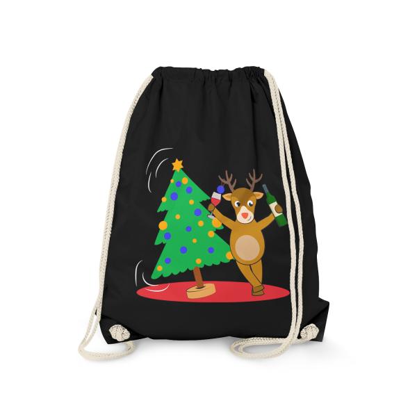 Betrunkenes Rentier mit Weihnachtsbaum - Turnbeutel