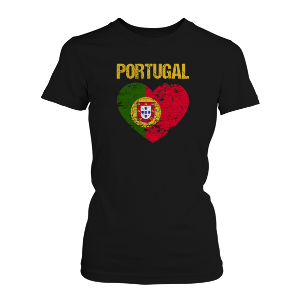 Portugal Flagge in Herzform - Damen T-Shirt