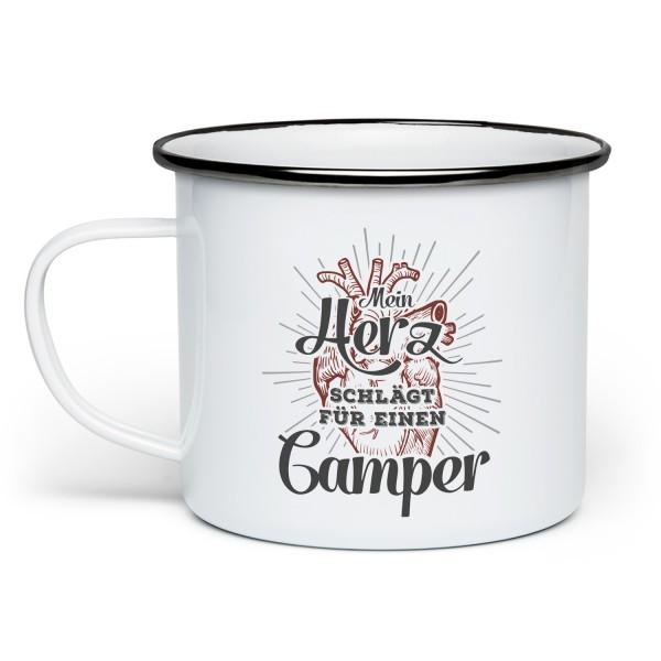 Mein Herz schlägt für einen Camper - Emaille-Tasse