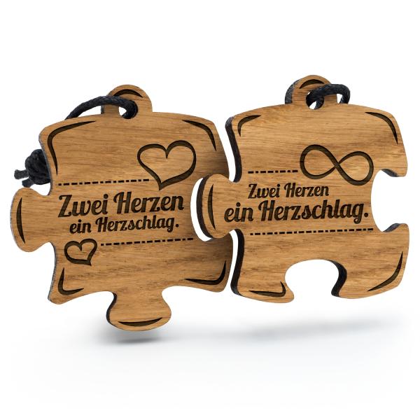 Zwei Herzen ein Herzschlag - Schlüsselanhänger Puzzle