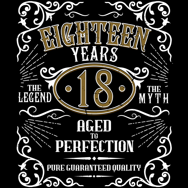Eighteen Years Damen T-Shirt Fun Shirt Geschenk Idee 18 Geburtstag Whiskey Label