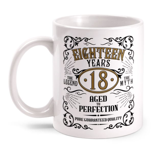 Eighteen Years Aged To Perfection - 18 Jahre Whiskey Label - Tasse