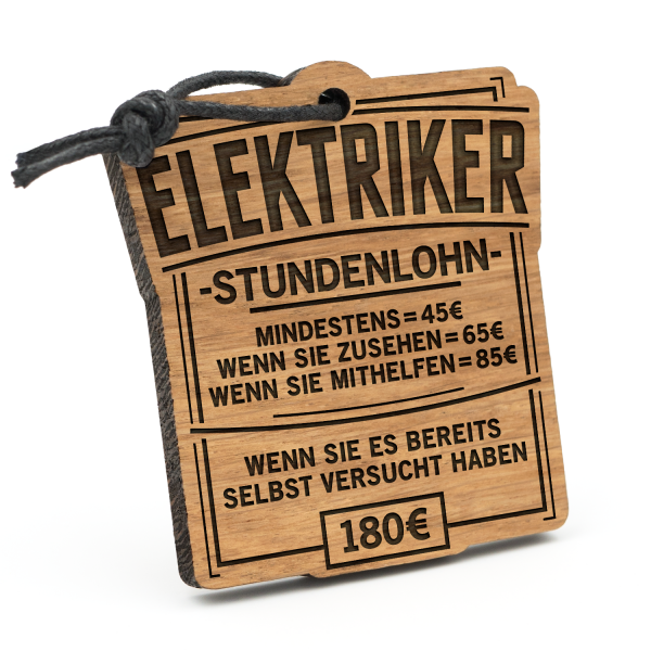 Stundenlohn Elektriker - Schlüsselanhänger