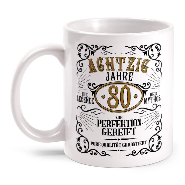 Achtzig Jahre zur Perfektion gereift - 80. Geburtstag Whiskey Label - Tasse