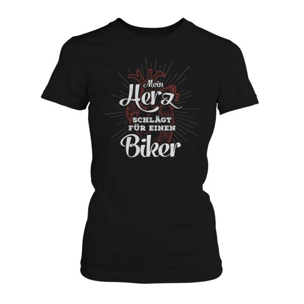 Mein Herz schlägt für einen Biker - Damen T-Shirt