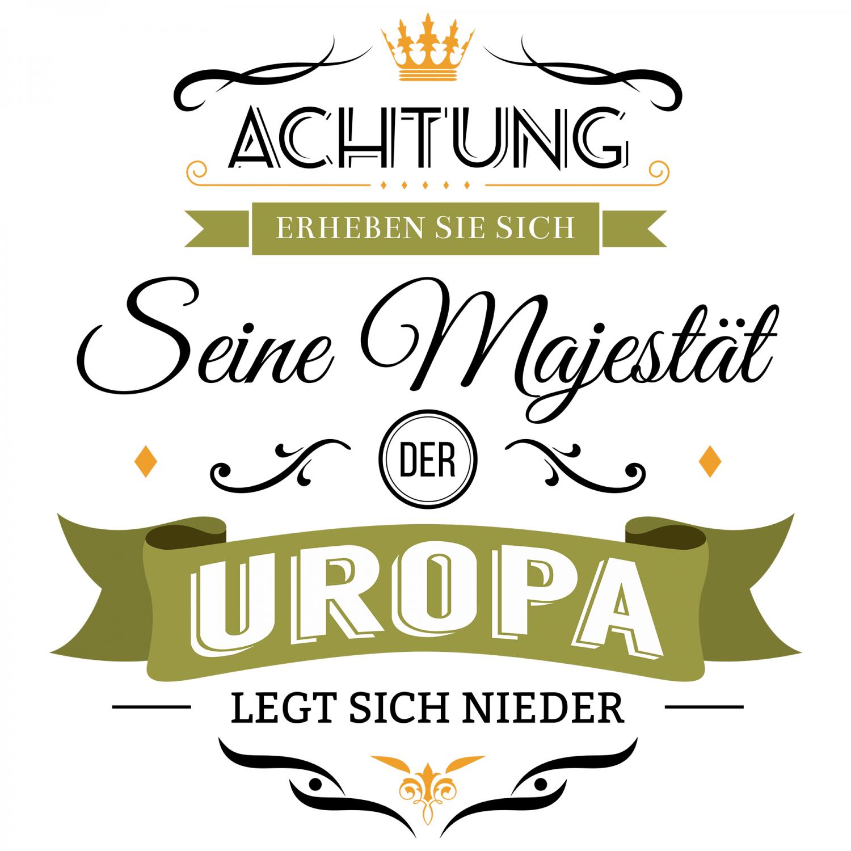 Majestät Uropa Kissen 40x40 cm Geburtstag Geschenk Idee Geburt Urenkel Lustig