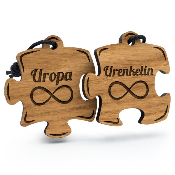 Uropa und Urenkelin - Schlüsselanhänger Puzzle