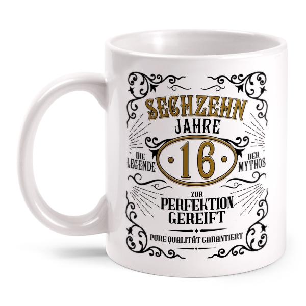 Sechzehn Jahre zur Perfektion gereift - 16. Geburtstag Whiskey Label - Tasse