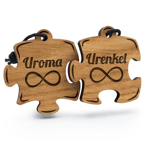 Uroma und Urenkel - Schlüsselanhänger Puzzle