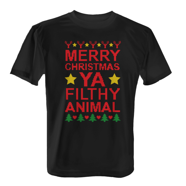 merry christmas ya filthy animal herren t shirt
