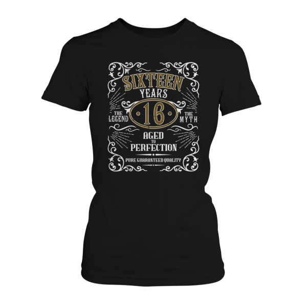 Sixteen Years Aged To Perfection - 16 Jahre Whiskey Label - Damen T-Shirt
