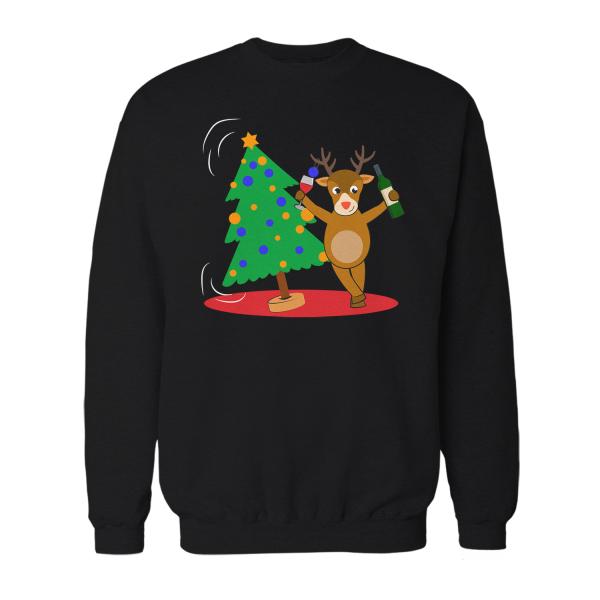 Betrunkenes Rentier mit Weihnachtsbaum - Herren Sweatshirt