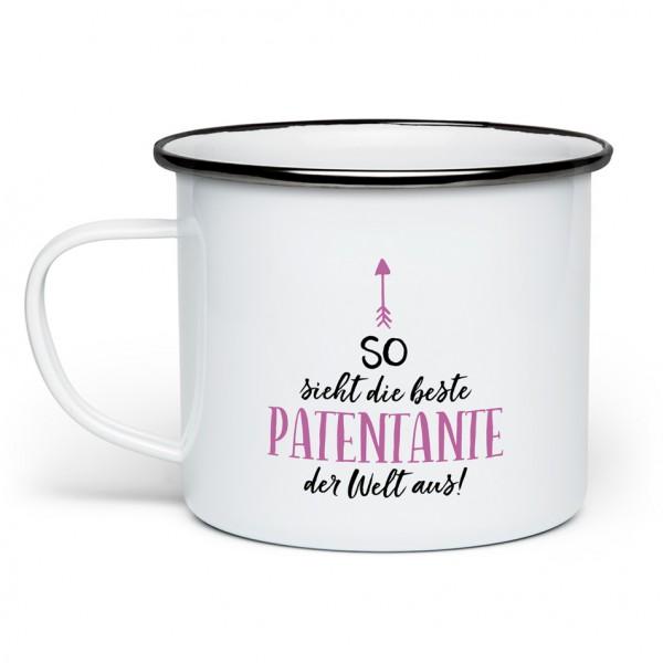 So sieht die beste Patentante der Welt aus! - Emaille-Tasse