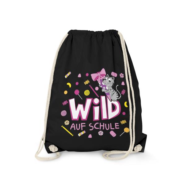 Wild auf Schule - Katze - Turnbeutel