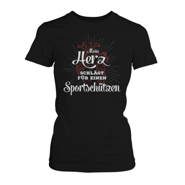Mein Herz schlägt für einen Sportschützen - Damen T-Shirt