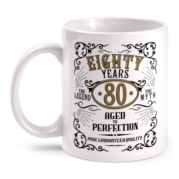 Eighty Years Aged To Perfection - 80 Jahre Whiskey Label - Tasse