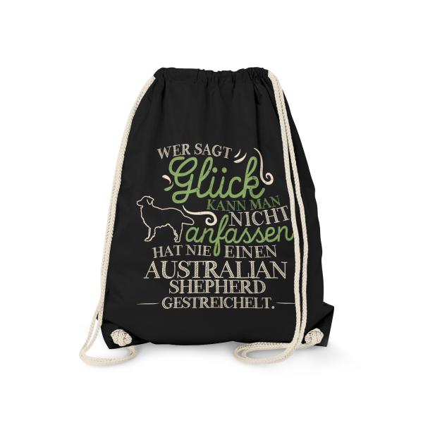 Wer sagt Glück kann man nicht anfassen, hat nie einen Australian Shepherd gestreichelt. - Turnbeutel