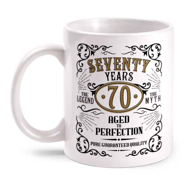 Seventy Years Aged To Perfection - 70 Jahre Whiskey Label - Tasse